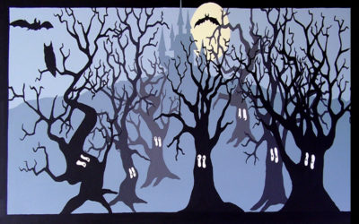 Benedict Primary School library - 'Spooky forest'