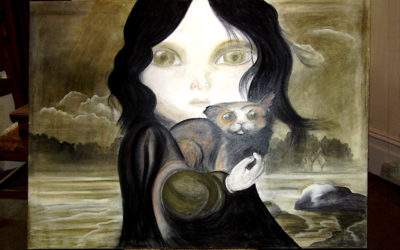 Copy of David Ho image (commission) -'Girl with cat'