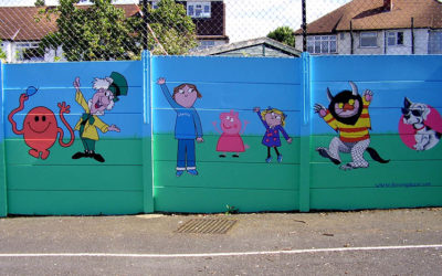 Hillcross Primary School playground - ' Book characters'