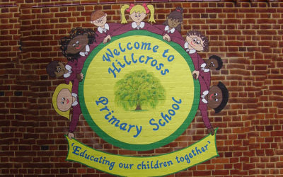 Hillcross Primary School - 'Welcome sign'
