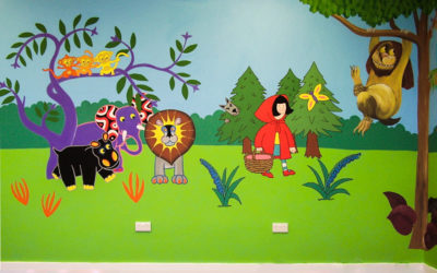 Stanley Park Infant School library - 'Book characters' detail 1