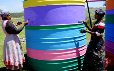 Bulungula Lodge, Nocountele and Nolatele painting water tank. 2015